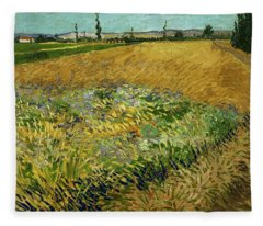Wheat Field With Alpilles Foothills In The Background At Wheat Fields Van Gogh Series, By Vincent  Fleece Blanket