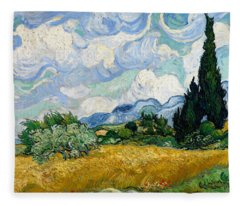Wheat Field With Cypresses Fleece Blanket