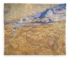 Wheat Field With Reaper Harvest In Provence Fleece Blanket