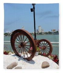 Wheels By The Water Fleece Blanket