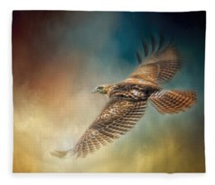 When The Redtail Flies At Sunset Hawk Art Fleece Blanket