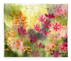 Where The Pink Flowers Grow Fleece Blanket
