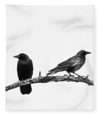 Which Way Two Black Crows On White Square Fleece Blanket