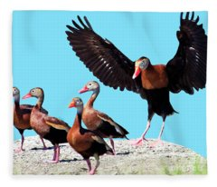 Whistling Ducks Fleece Blanket