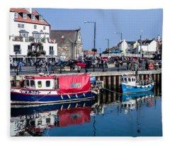 Whitby Harbor, United Kingdom Fleece Blanket