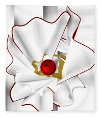 White Abstract Flower Fleece Blanket