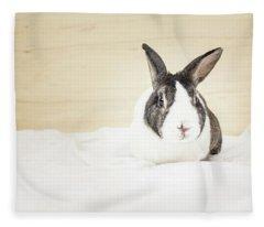 White And Brown Rabbit Fleece Blanket