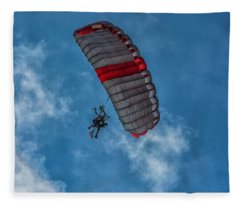 White And Red Skydive  Fleece Blanket