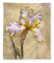 White And Yellow Iris Fleece Blanket
