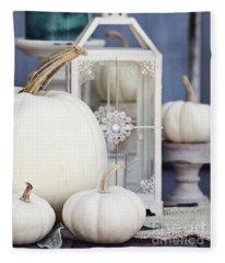 White Autumn Decorations Fleece Blanket