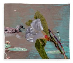 White Bindweed And Mandarin Duck Mix #g5 Fleece Blanket