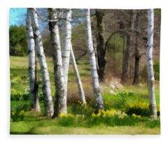 White Birch Trees And Jonquils Fleece Blanket