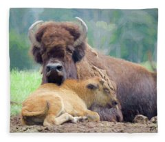 White Bison And Calf Fleece Blanket