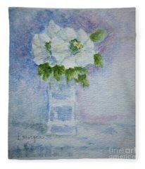 White Blooms In Blue Vase Fleece Blanket