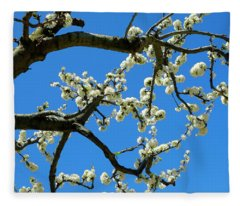 White Blossom Branches Fleece Blanket