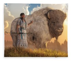 White Buffalo Calf Woman Fleece Blanket