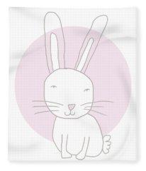 White Bunny On Pink- Art By Linda Woods Fleece Blanket