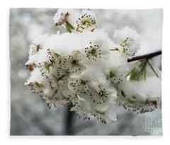 White Cherry Blossoms Under Snow Fleece Blanket