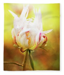 White Chinese Peony Laden With Raindrops Fleece Blanket