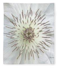 White Clematis Flower Macro 50121c Fleece Blanket