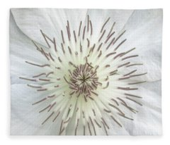 White Clematis Flower Macro 50121c Fleece Blanket