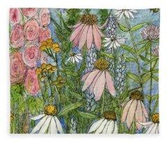 White Coneflowers In Garden Fleece Blanket