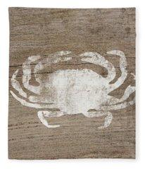 White Crab On Wood- Art By Linda Woods Fleece Blanket