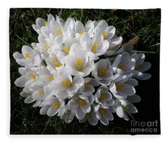 White Crocuses Fleece Blanket
