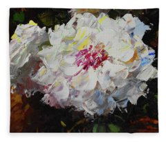 White Dahlias Painted Fleece Blanket