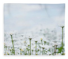 White Daisies In Summer Sunshine 2 Fleece Blanket