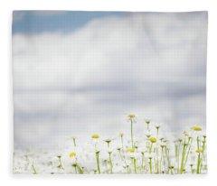 White Daisies In Summer Sunshine Fleece Blanket