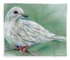 White Dove In The Pine Fleece Blanket