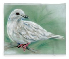 White Dove In The Pine Fleece Blanket