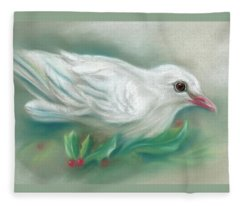 White Dove With Christmas Holly Fleece Blanket