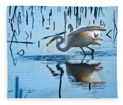 White Egret At Horicon Marsh Wisconsin Fleece Blanket
