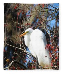 White Egret Bird Fleece Blanket