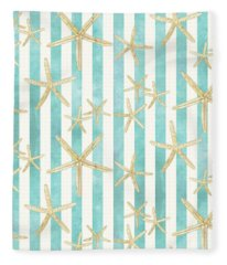 White Finger Starfish Watercolor Stripe Pattern Fleece Blanket