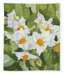 White Garden Blossoms Watercolor On Masa Paper Fleece Blanket