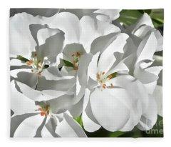 White Geraniums Fleece Blanket