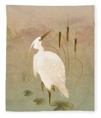 White Heron In Bulrushes Fleece Blanket