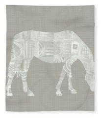 White Horse 2- Art By Linda Woods Fleece Blanket