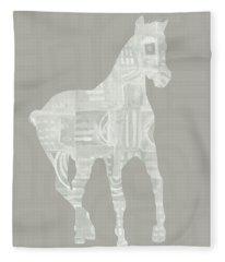 White Horse 3- Art By Linda Woods Fleece Blanket