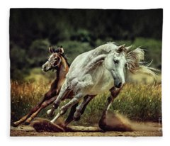 White Horse And Foal Running Wild Fleece Blanket