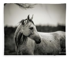 White Horse Autumn Portrait Fleece Blanket