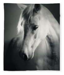 White Horse Head Art Portrait Fleece Blanket