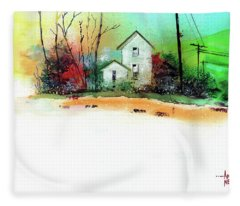 White Houses Fleece Blanket
