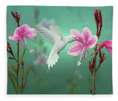 White Hummingbird And Pink Guara Fleece Blanket
