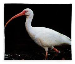 White Ibis Dripping Fleece Blanket