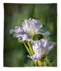 White Iris On Abstract Background #g4 Fleece Blanket