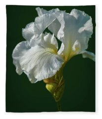 White Iris On Dark Green #g0 Fleece Blanket